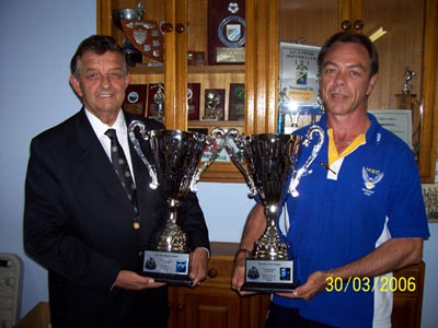 Terry Seacy and Phil Sampson with trophies