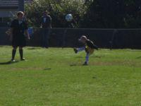 Dylan giving a big kick to the ball
